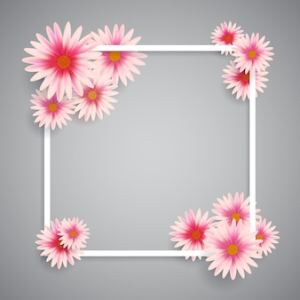 White frame with pink flowers