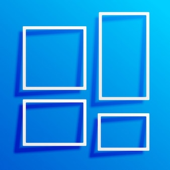 White frames on a blue background
