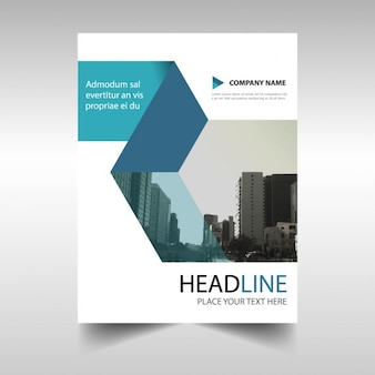 White geometric brochure with blue shapes