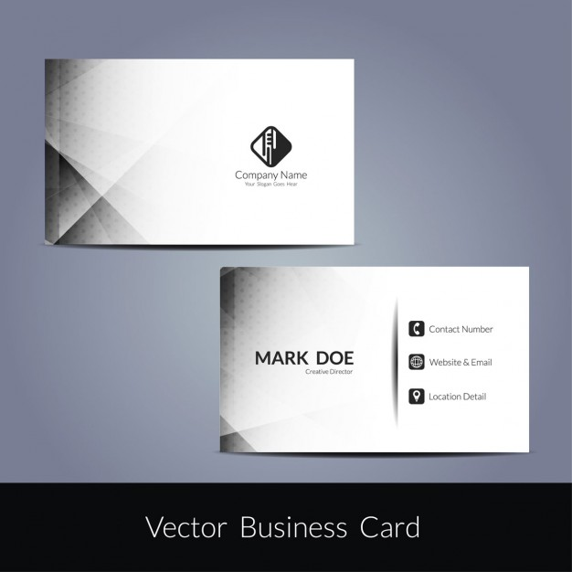 White geometric business card with grey details