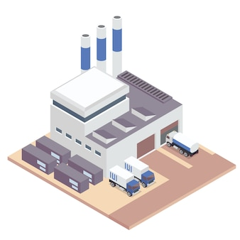 White isometric factory