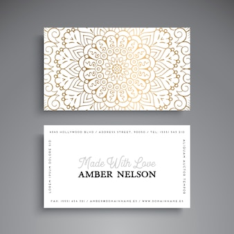 White luxury mandala visiting card