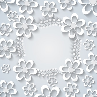 White paper flowers background.