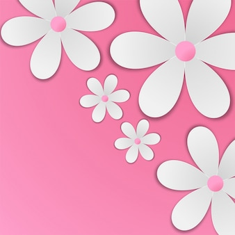 White paper flowers on baby pink background.