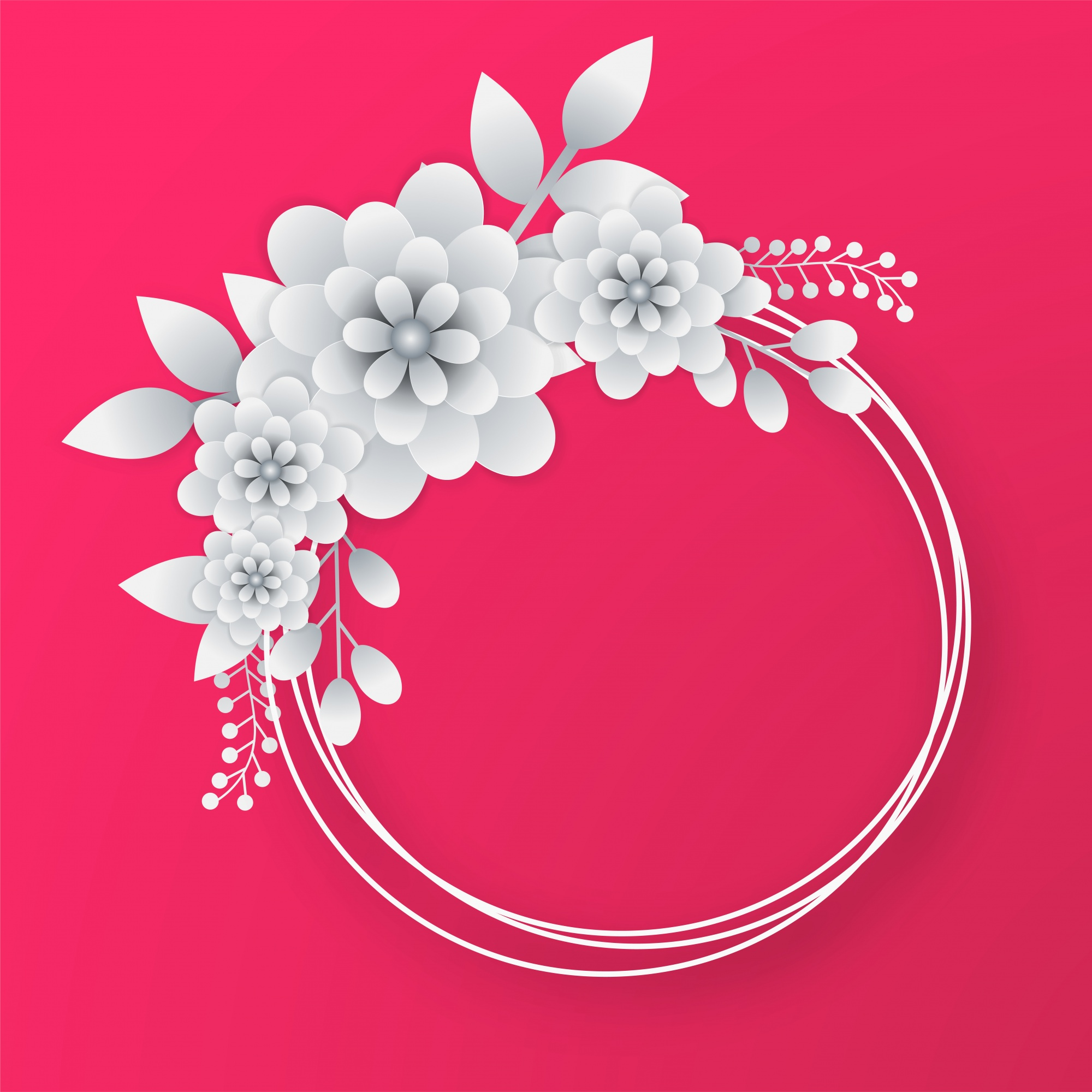 White paper flowers with circular frame on pink background.