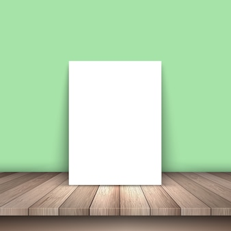 White paper on a wooden table