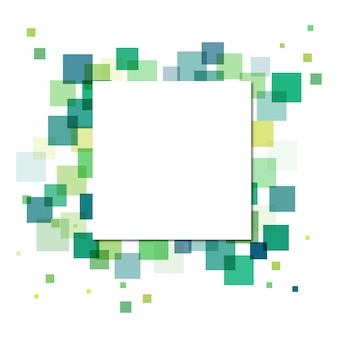 White paper square on multiple green squares background. Abstract concept.