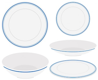White plates with blue trim