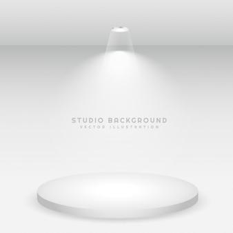 White podium studio background