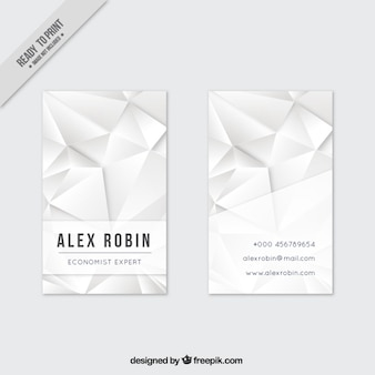 White polygonal business card