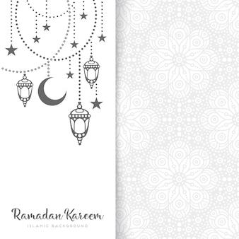 White ramadan kareem greeting card