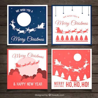 White Red and Blue Christmas Label Collection