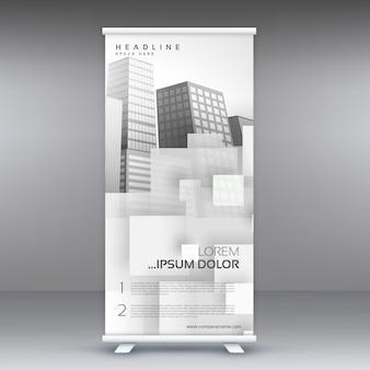 あなたのビジネスプレゼンテーションのための白いロールアップスタジオバナーベクターデザイン