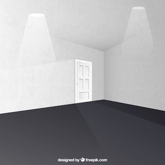 White room with a door and spotlights