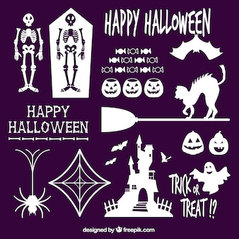 White silhouettes of halloween elements