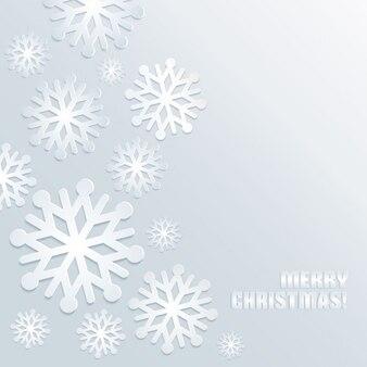 White snowflakes on a gray background