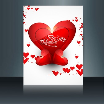 White valentines card with shiny red hearts