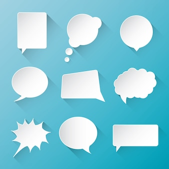 White vector communication speech bubble clouds with flat long shadow