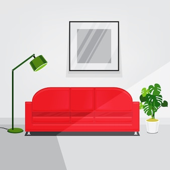 White walls living room interior with red sofa