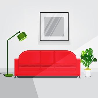 赤いソファーと白い壁のリビングルームのインテリア