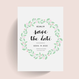 White wedding card with floral wreath
