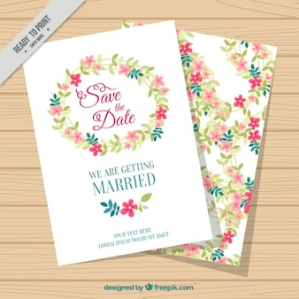 White wedding card with flowers