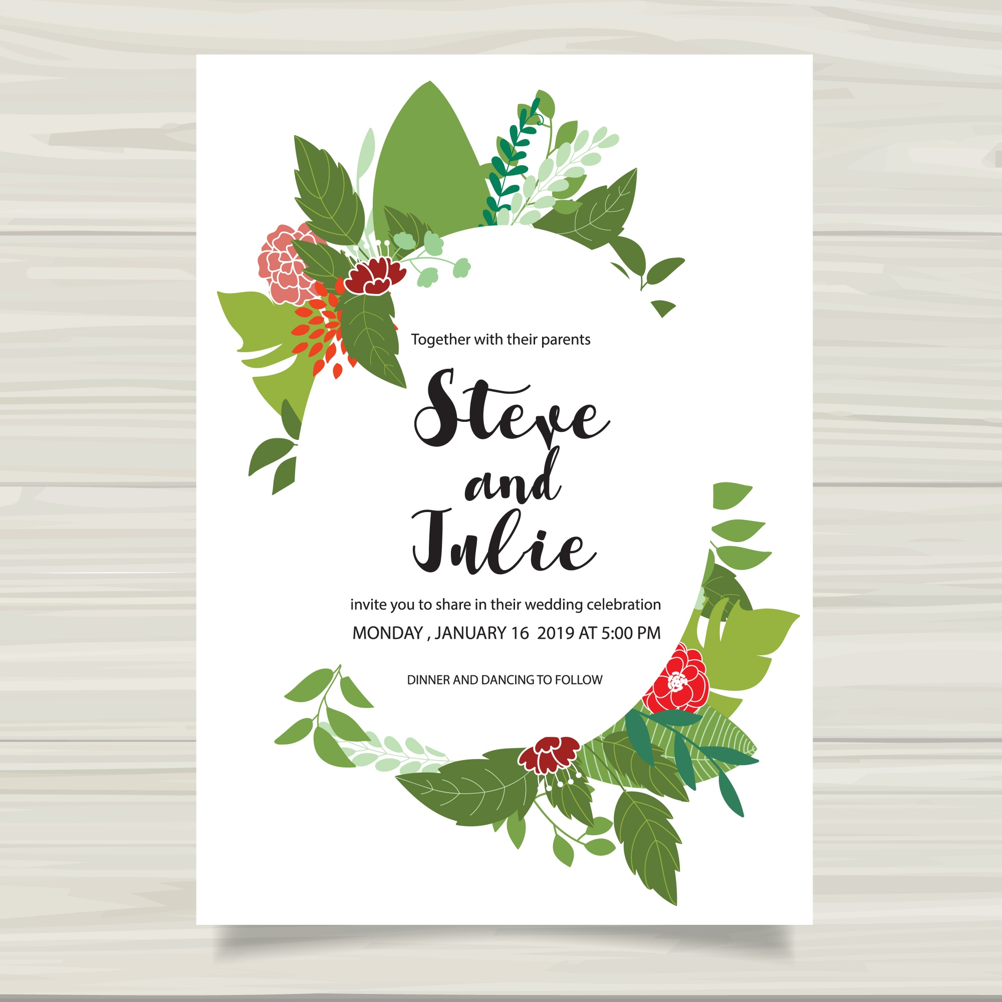 White wedding card with green leaves
