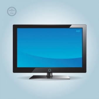 Wide blue screen HD TV vector