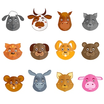 Wild and domestic animal cartoon characters collection for icons avatars or mascots isolated vector illustration