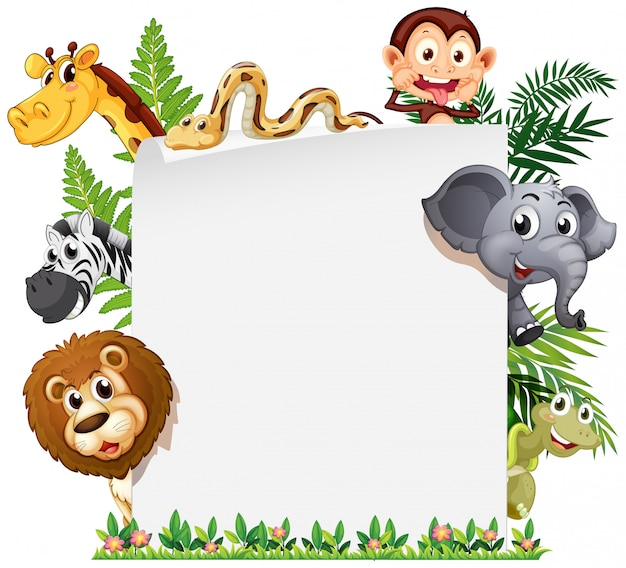 Wild animal on note template