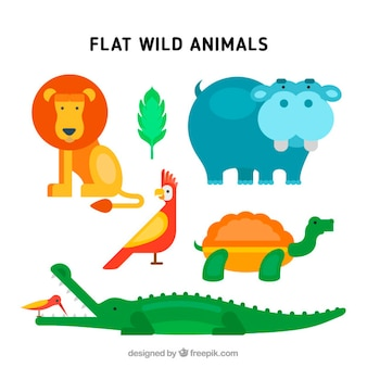 Wild animals with lion and hippo