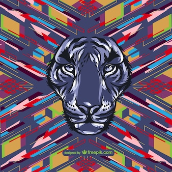Wild lion and abstract background