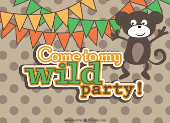Wild party invitation with a monkey
