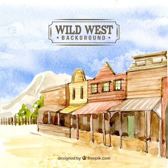 Wild west background in watercolor style