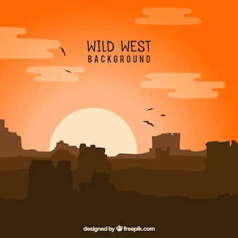 Wild west background with mountains and birds