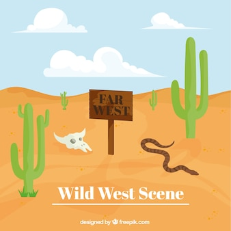 Wild west background with snake and vegetation