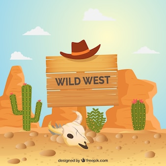 Wild west background with wooden sign and hat