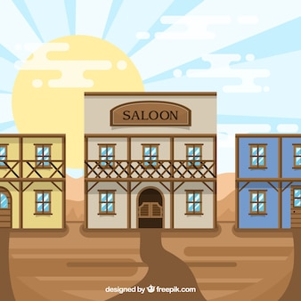Wild west scene with saloon in flat design