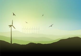 Wind turbine on a landscape background