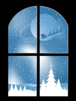 Window with santa claus illustration