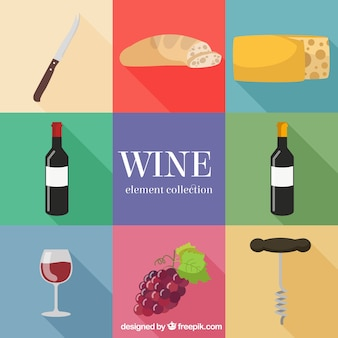 Wine assortment of items in flat design