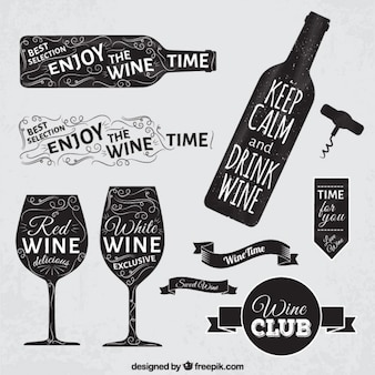 黒板スタイルでワインバッジ