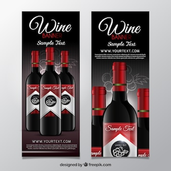 Wine banners with red details