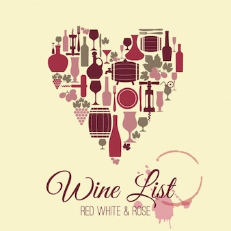 Wine heart shaped background