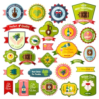 Wine label emblems and ribbons flat colored set of isolated vector illustration