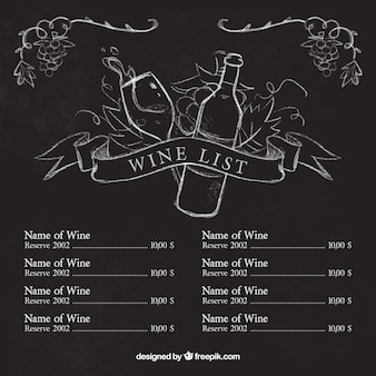 Wine list template with sketches on blackboard