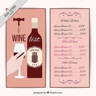 Wine list with a bottle and a hand holding a glass