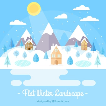 Winter background of frozen lake with houses in flat design