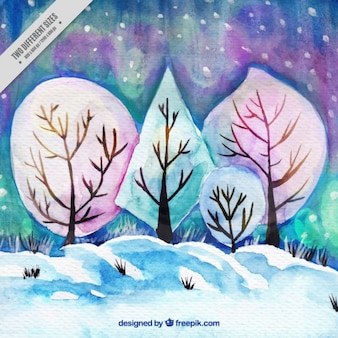 Winter background of watercolor landscape with trees