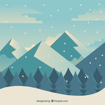 Winter background with forest and mountains in flat design